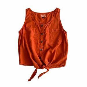 Universal Thread Orange Button Up Tie Front Tank
